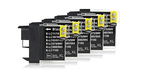 5 Cartouches d'Encre compatible avec Brother LC-1100 (Noir)