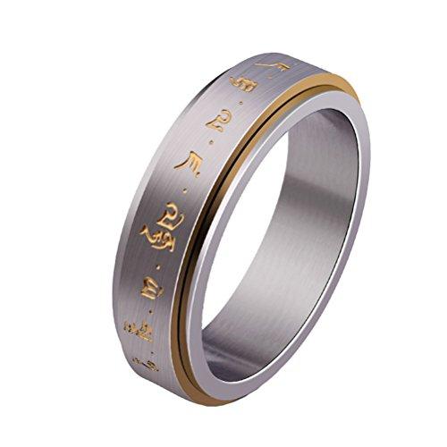 HIJONES Herren Edelstahl Buddhist Gold Mantra Muster Spinner Glücklicher Ring Größe 65