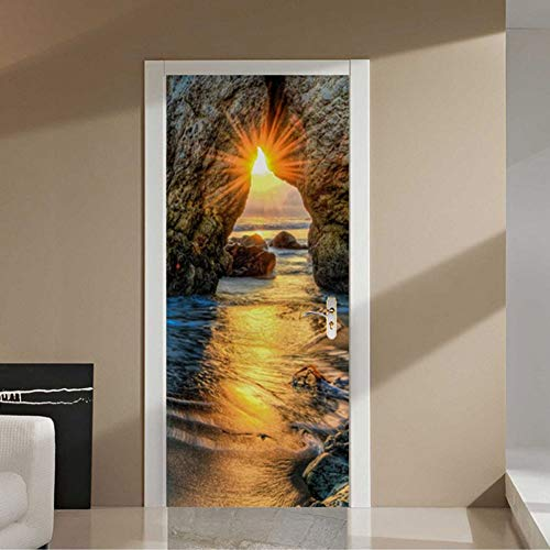 YOYODECOR Door Posters Selbstklebende Tür Aufkleber 3D Sunset Beach Landschaftsölgemälde Tapete Wohnzimmer Esszimmer Wohnkultur Aufkleber 3D Aufkleber (Beach Wood Flooring)