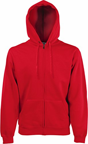 Fruit of the Loom - Kapuzen Sweat-Jacke 'Hooded Zip' L,Red (Kapuzen-jacke Rote)