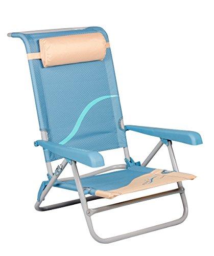 Meerweh Erwachsene Strandstuhl mit Verstellbarer Rückenlehne und Kopfpolster Klappstuhl...