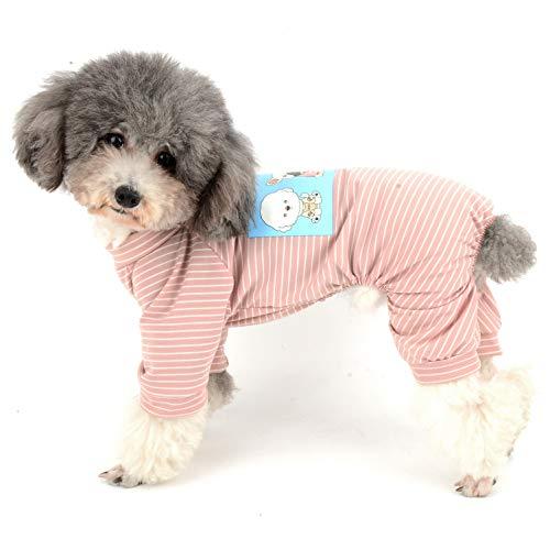 Ranphy Hunde-Pyjama aus Baumwolle, gestreift, für kleine Hunde, 4 Beine, niedliches Welpen-Motiv, Bedruckte Kleidung für ()
