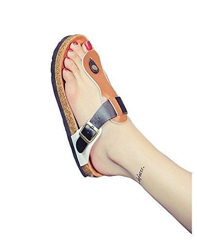 Sandales pour Femme Homme Confort Liège Tongs Chaussures de Plage - Pantoufles d'été Unisexe Adulte Marron Noir