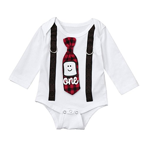 Baby Overall Strampler Longra Neugeborenes Baby Baumwolle Strampler Jumpsuit Unisex Baby Brief Krawatte Weihnachten Outfits Kostüm Strampler Lattice Nachtwäsche (70CM 3Monate, White) (Hut Stricken Spieler)