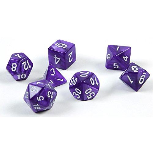 shibby 7 dados poliédricos en púrpura para juegos de rol y mesa, incluye bolsa