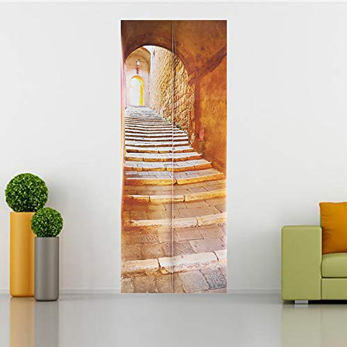 KUNSE 3D Stein Treppe Kunst Tür Wand Kühlschrank Aufkleber Aufkleber Selbst Klebstoff Wandbild Home Office Dekor