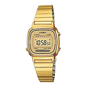 CASIO La670Wega-9Ef de cuarzo, correa de acero inoxidable color oro
