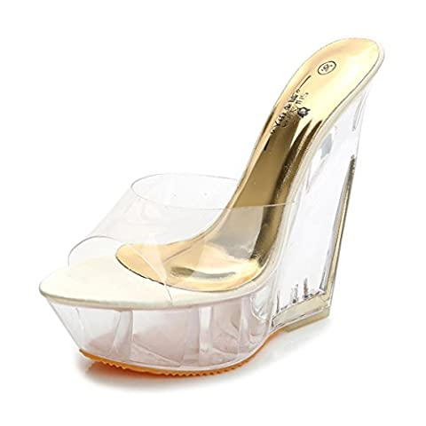 Women's Ladies New Wedge High Heel Sandals Slippers Shoes Peep Toe Platform Transparent PU Fall Spring Summer Nightclub Party Dressy , Gold , EUR 40/ UK