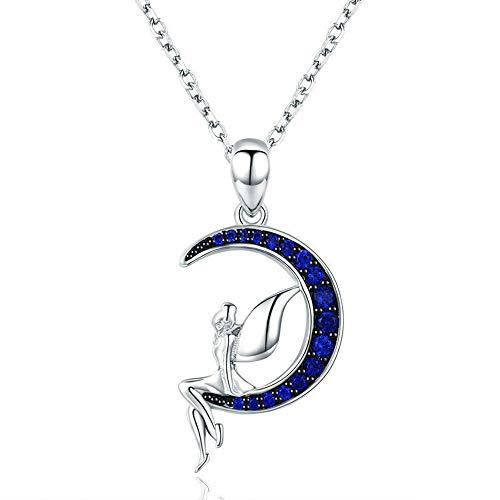 ANLW Halskette Moon Fairy S925 Sterling Silber Platin Beschichtet Zirkonia Anhänger Halskette Damen Schmuck Allergenfrei Nickelfrei