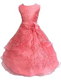 LSERVER- Pizzo Floreale Bowknot del Organza ragazza vestito ricamato con  paillette da ragazza Princess-Abito da… f91d69e445a