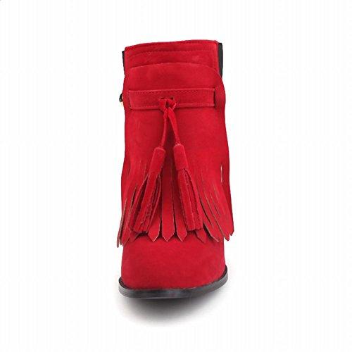 Mee Shoes Damen chunky heels Quaste kurzschaft Suede Stiefel Rot