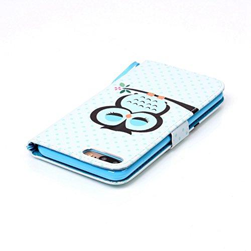 iPhone 8 Plus Hülle, STENES Stilvoll Serie Kartenfach Standfunktion Magnet Ledertasche Wallet TPU Stoßfänger Schutzhülle für iPhone 7 Plus / iPhone 8 Plus - Ballon / Blau Nachteule / Blau