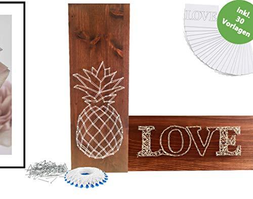 Set de manualidades de madera para adultos con plantillas, regalo de gran calidad, caja de manualidades para enhebrar. Set de diseño de regalo para hombre, mujer, novio, novia, familia. Equipo de decoración original