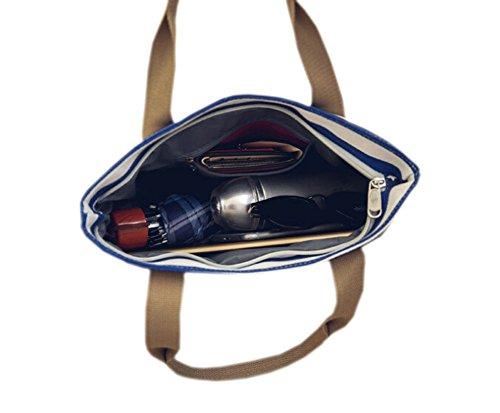 GGTFA Donne di Piacere Striscia Stelle Shopper in Canvas Handbag con Tracolla Girs Studente Grande Sacchetto di Scuola Blu