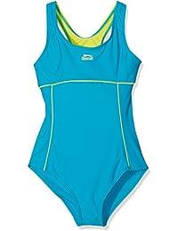 Slazenger Badeanzug für Mädchen, mit klassischen X-Ausschnitt am Rücken, langlebigen Materialien! Der ideale Schwimmanzug fürs Schwimmbad, den See oder das Meer. Passend ab 7-8 Jahre , 9-10 Jahre , 11-12 Jahre , 13 Jahre & 14-15 Jahre in den Farben: schwarz/pink, türkis/hellblau, pink/türkis, hellblau/coral, violett/flieder & pink/hellblau