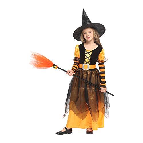 QUNSHIANK Mädchen Partykleid Halloween Cosplay Kostüm Hexe Prinzessin Kleid Kinder Mädchen Jungen Halloween Cosplay 4-12 Jahre (Farbe : Photo Color, größe : XL)
