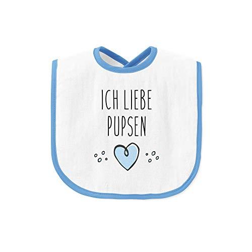 Tassenbrennerei Baby Lätzchen mit Spruch Ich Liebe Pupsen, lustiges Babylätzchen, Geschenke zur Geburt Junge (Blau)