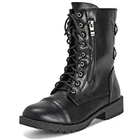 Viva Womens Outside Pocket Zip Combat Military Fashion Winter Mid Calf Boots