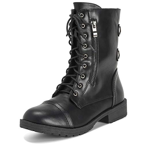 Viva Shoes Womens Combat Outside Military Winter Fashion Mid Calf Pocket Zip Boots