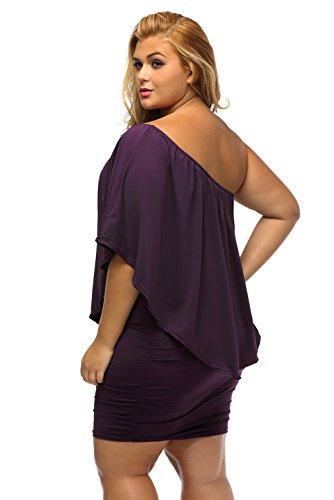 La Vogue Femme Robe Grand Taille Hanche Epaule Moulante Soirée Violet