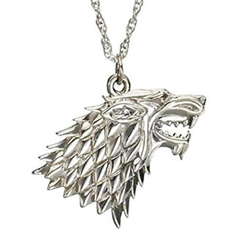 CMJ Game of Thrones Stark Direwolf Dire GOT Pendant Necklace UK in velvet gift bag