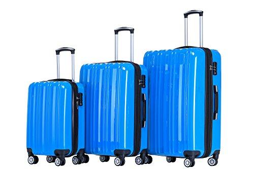 Münicase- Hartschalen Koffer Reisekoffer Trolley Rollkoffer Polycarbonat TSA-Schloß Kofferset Gepäckset (Türkis, 3tlg. Kofferset)