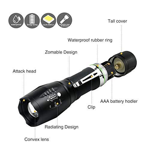 Linterna LED Recargable 1000Lumen Alta Potencia T6 de enfoque ajustable portátil resistente al agua Camping linterna 5 Modo de luz,  2 x Batería incluidas, Carga USB