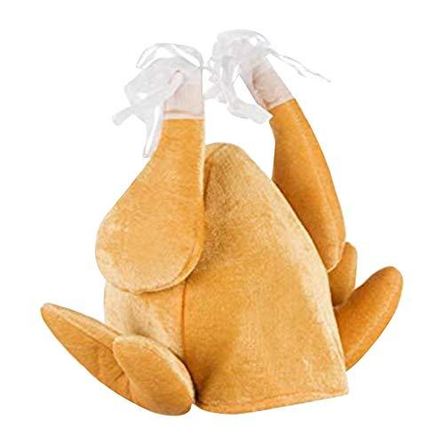 AUTOECHO-Türkei-Hut zum Erntedankfest Lustige Party-Türkei-Hut mit Plüschhut Neuheit Weihnachten Türkei-Hut Plüsch gebratene Türkei-Hüte Thanksgiving for Erwachsene Frauen Männer