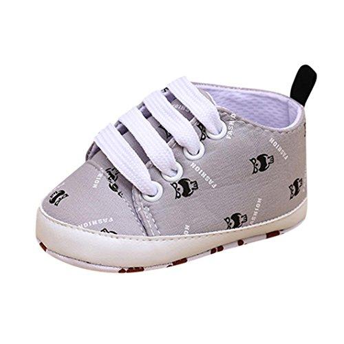 Baby Schuhe Sonnena Neugeborene InfantBaby Cartoon Mädchen Jungen Weiche Prewalker Casual Wohnungen Schuhe Unisex / Print / Slip-On / Baumwolle / Casual, Mode-Stil (11, Schöne Grau) (Ballerina-stil Wohnungen)