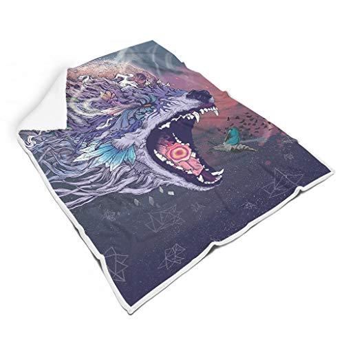 O5KFD&8 Blanket Wolf Gemustert Gedruckt Original Throws Robe - Wolf Komfortabel für Mittagspause Verwenden White 150x200cm