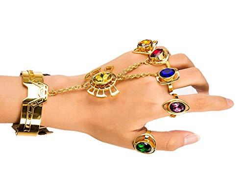 Mädchen Avengers Kostüm - Thanos Armband mit 5 Unendlich Edelsteinen Ring Power Stone Gold Kupfer Schmuck Avengers Endgame Cosplay Kostüm Zubehör Halloween Kleidung Kollektion für Damen Mädchen