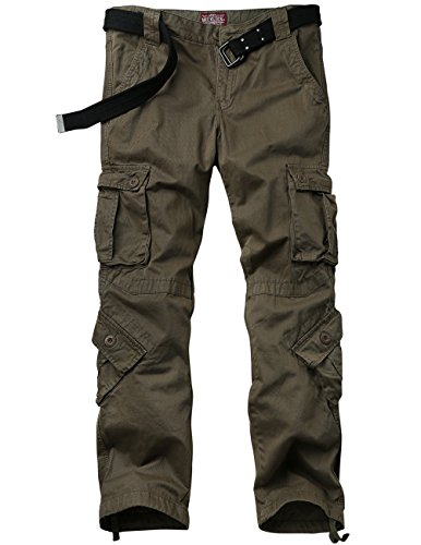 Match Men's Retro Casual Cargo Trousers #3357(Dark khaki,30)
