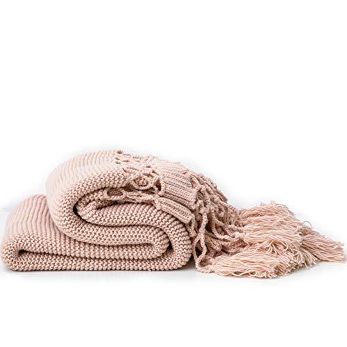 Handgestrickte Decken, Sofadecken, Foto Requisiten, Personalisierte Decke, Hohle Quaste Decken,Pink -