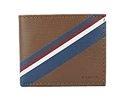 Tommy Hilfiger Mens Leather Tan Double Billfold Passcase Wallet