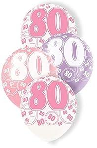Unique Party Paquete de 6 globos de látex de 80 cumpleaños Color rosa Edad (80918