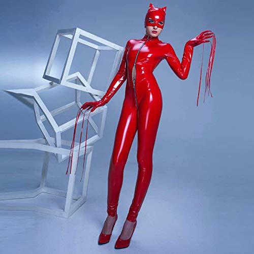 Catwoman Kostüm 10 Top - HJG Womens Kunstleder Wet Look Catsuit, Catwoman Kostüm Frauen mit Reißverschluss Catsuit Adult Cosplay,Red,M