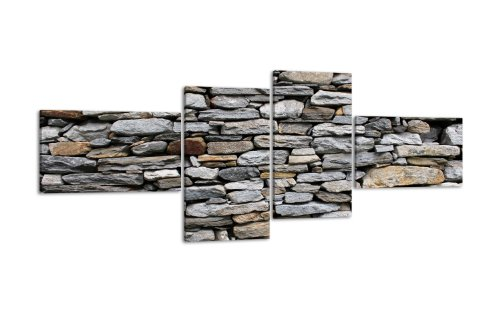 Price comparison product image LW73 Brick Wall Picture Canvas Art Print 4 Pieces 100 x 45 CM, XXL, with Stretcher Frame, Stone Boulder, rocks