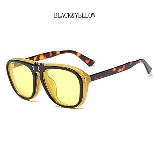 Kjwsbb Vintage Flip Cover Sonnenbrillen Frauen Clamshell Sonnenbrille Männer Quadrat Gläser