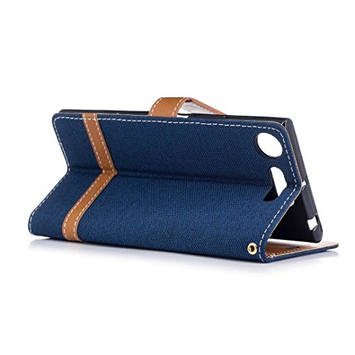 LEMORRY Sony Xperia XZ1 / F8342 Custodia Pelle Cuoio Flip Portafoglio Borsa Sottile Bumper Protettivo Magnetico Morbido Silicone TPU Cover Custodia per Sony XZ1, Stile del Denim Blu Scuro Profondo blu