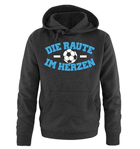 Comedy Shirts - Hamburg - DIE Raute - IM Herzen - Herren Hoodie - Schwarz/Weiss-Blau Gr. XL