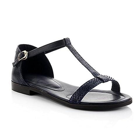 Adee Mesdames Boucle no-heel Sandales en cuir - Bleu -