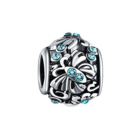 Bling Stars Butterfly Flower Charms March Birthstone Blue Crystal Beads Fits Pandora Bracelet