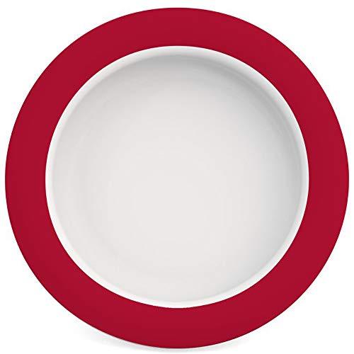 Ornamin Assiette avec l'Astuce Fond Incliné Ø 20 cm Rouge (Modèle 902) / assiette ergonomique, aide aux repas, assiette antidérapante