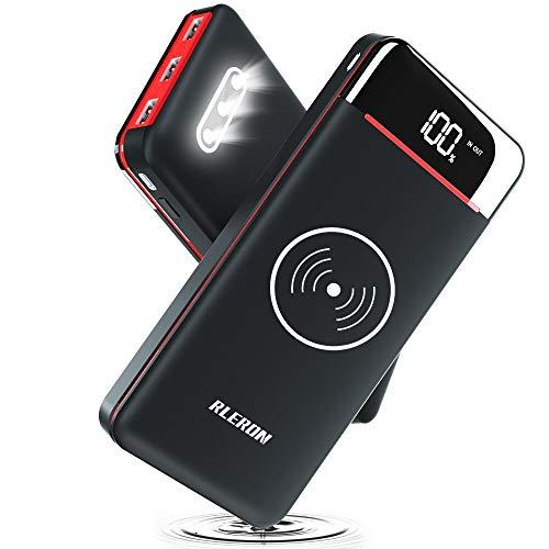 RLERON Powerbank Wireless Charger 25000mAh Hohe Kapazitat Tragbares Ladegerät Kabellose Tragbare Externer Akku Pack mit LCD Digital Display und Dual Input 3 Ausgänge Power Bank mit ladegerät…