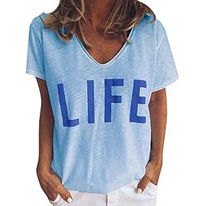 Damen drucken Bluse MEIbax Damen Drucken Shirt Kurzarm V-Ausschnitt T-Shirt Damen Shirt SexyLangarm Casual Oberteile Hemd