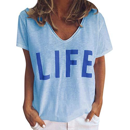 Damen T-Shirt Sommer Bluse Casual Kurzarm V-Ausschnitt Brief Gedruckt Shirt Tops Classics Basic Bluse Bequem Oberseiten(Blau,M) -