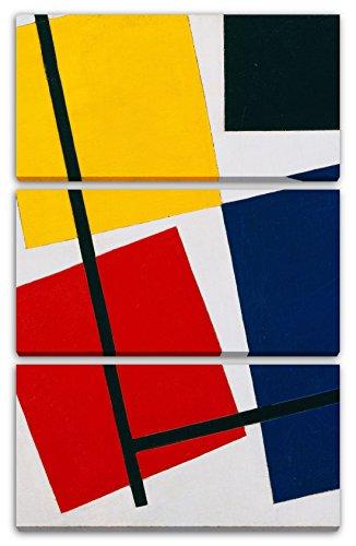 Theo von Doesburg - Simultane Gegen-Komposition (1929/30), 80 x 120 cm (Dreiteiler, 3 x 80x40cm) (weitere Größen verfügbar), Leinwand auf Keilrahmen gespannt und fertig zum Aufhängen, hochwertiger Kunstdruck aus deutscher Produktion