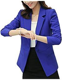 HaiDean Oeste Mujer Otoño Formal Chaqueta De Traje Color Sólido Botonadura  Chaqueta Modernas Casual Cardigan De Solapa Manga… 3092e156f13b