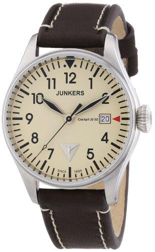 Junkers 6144-5 - Reloj analógico de cuarzo para hombre, correa de cuero color marrón