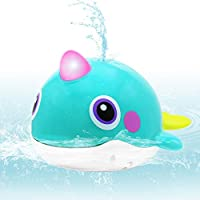 VATOS Baby Bath Toy Whale Bathtime Squirt Toys Bathing Toy Sprinkler Swimming Tub Floating Water Spray Bathtub Toys Waterproof Bathing Tub Pool Toys for Babies Kids Toddlers Plastics Spouting Whale